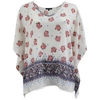 Women Plus Size Floral Design Flowy Knit Top Tee Blouse Shirt Ivory