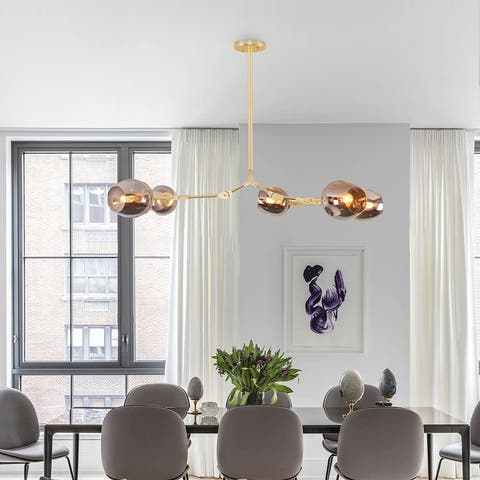 Adjustable Chandelier Pendant, Gold Chandelier with Smoked Glass Shade