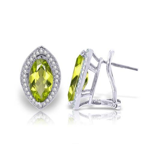 4.3 Carat 14K Solid Gold French Clips Earrings Diamond Peridot