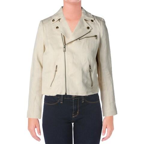 Lauren Ralph Lauren Womens Basic Jacket Lined Linen Blend