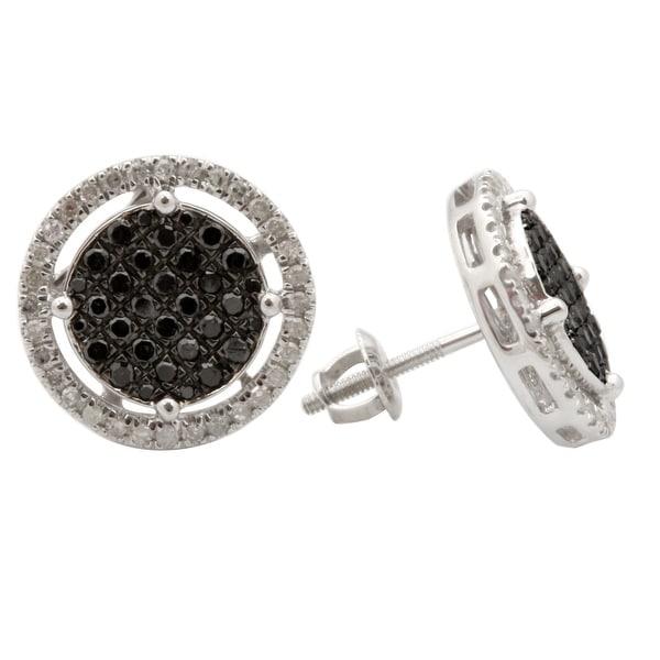 Fabulous 0.73 Carat Natural Black & White Diamond Screw Back Cluster Earring