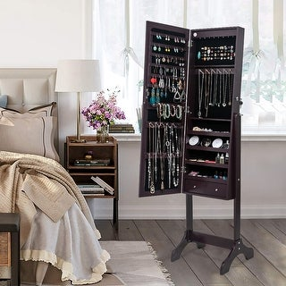 """42""""Jewelry Storage Adjustable Mirror Cabinet with LED Lights - 4Layer-2Drawers"""