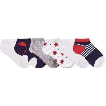 Nicky Noodles Little Girls' 6 Pack Shorty Ankle Socks- Navy