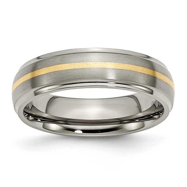 Chisel 14k Gold Inlaid Ridged Edge Brushed & Polished Titanium Ring (6.0 mm)