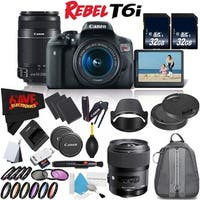 Canon Rebel T6i DSLR Camera w/ 18-55mm Lens International Version (No Warranty) + Sigma 35mm f/1.4 DG HSM Art Lens Bundle