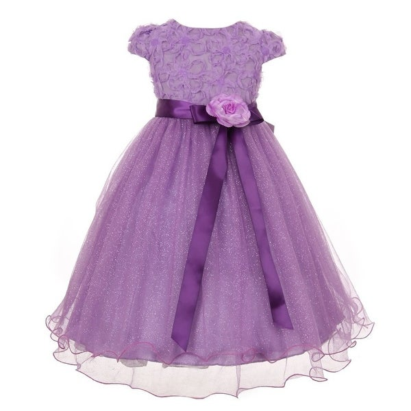 337d48d7ad Big Girls Purple Sequin Textured Bodice Tulle Wire Hem Party Dress 8-12