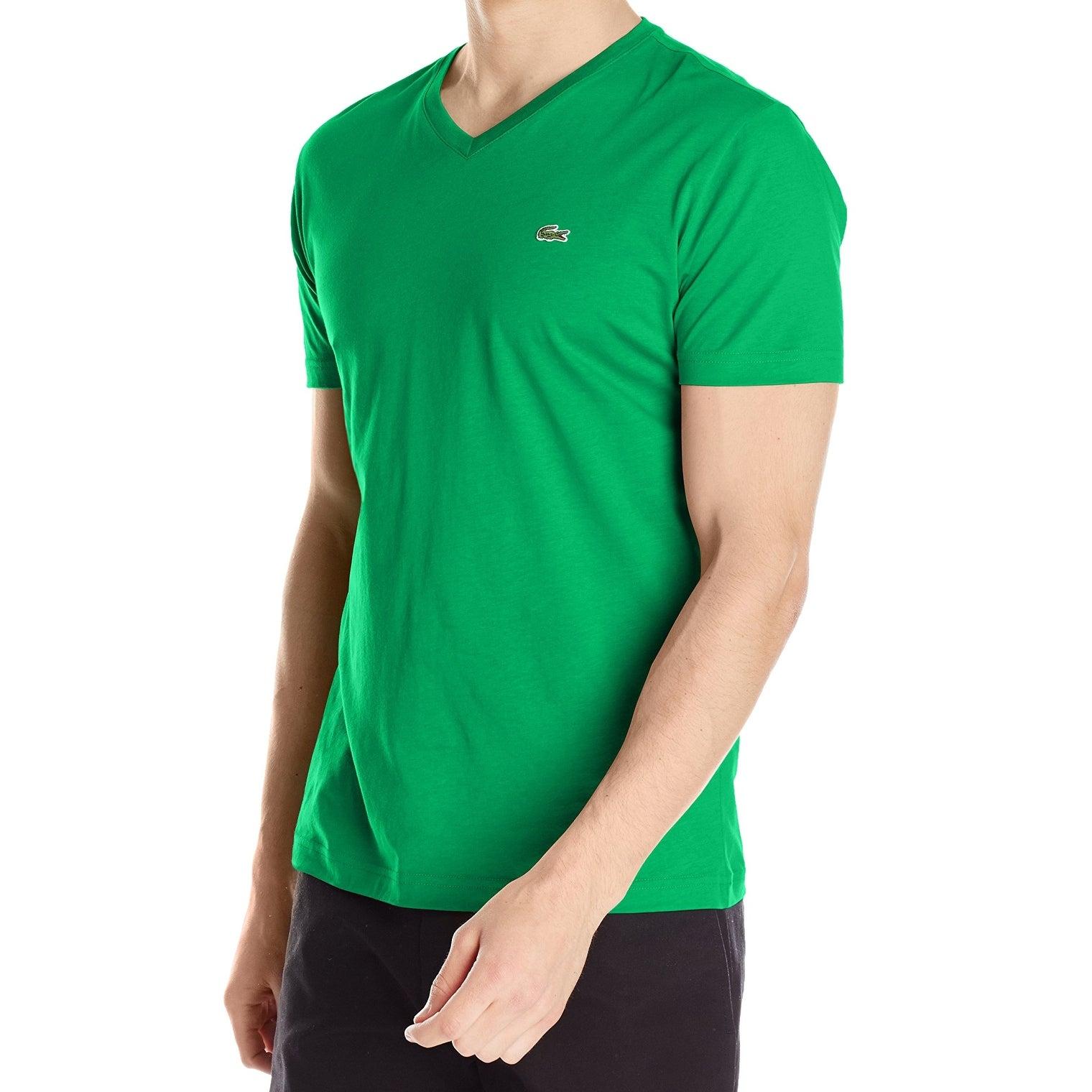 green v neck t shirt mens