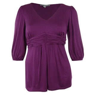 NY Collection Women's Ruched Waist Stretch Smocked Tunic