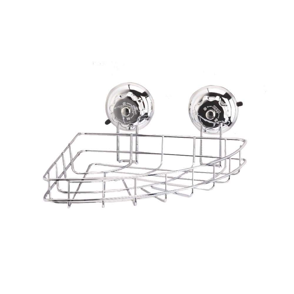 Kitchen Bathroom T304 Stainless Steel Turn & Lock Chrome Corner Basket Caddy