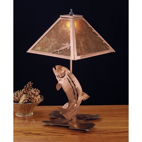 Meyda Tiffany 32532 Table Lamp from the Fish Du Jour Collection - antique copper/amber mica - n/a