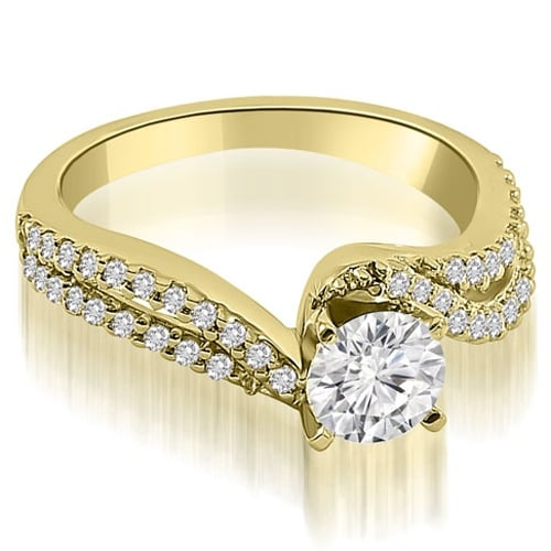 1.08 cttw. 14K Yellow Gold Twisted Split Shank Round Cut Diamond Engagement Ring