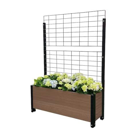 Trough Planter Box Raised Garden Bed w/ Trellis