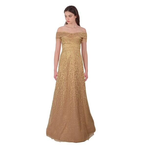 40f24dde0 Rene Ruiz Shimmering Lace Jacquard Short Sleeve Off Shoulder Evening Ball  Gown Dress Gold/Apricot