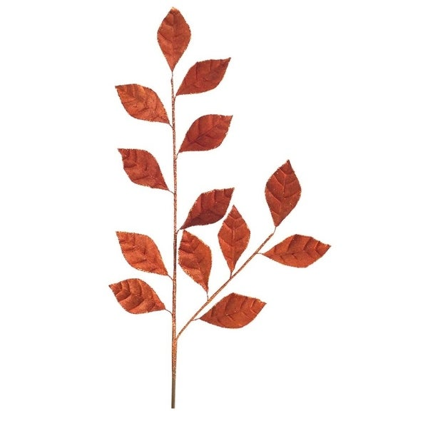 Club Pack of 24 Exquisite Artificial Shimmering Burnt Orange Leaf Spray 36""
