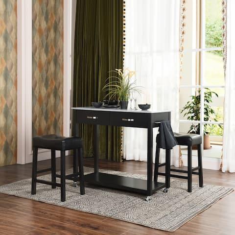 Furniture R Traditional Solid Wood Home Bar Set(Set of 3)