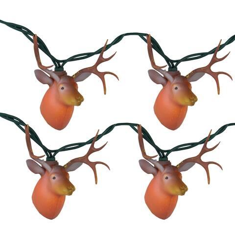 10 Brown Buck in Season Outdoor Patio Novelty Lights - 7 ft Green Wire