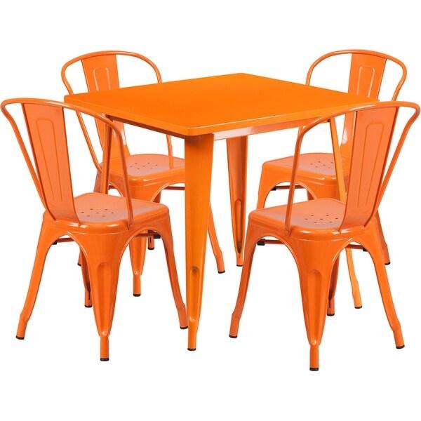 Lenzburg Square 31.5'' Orange Metal Indoor-Outdoor Table Set w/4 Stack Chairs for Restaurant/Bar/Pub/Patio
