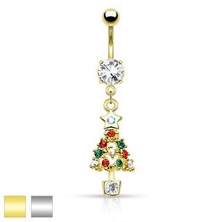 "Multi Colored Gem Paved Christmas Tree Dangle Belly Button Navel Ring - 14GA - 3/8"" Long"