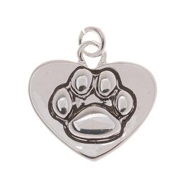 Antiqued Silver Plated Paw Print On Heart Charm 16mm (1)