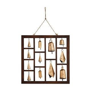 """Framed Bells Chime - Indoor Outdoor Hanging Wall Decor - 18"""" Square"""