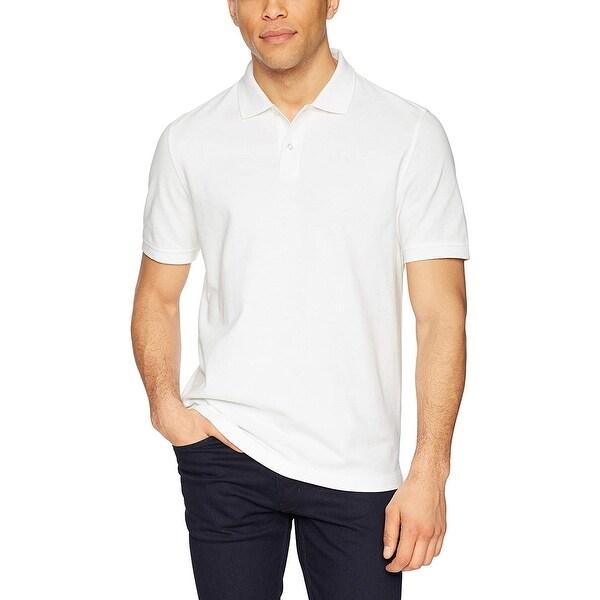 Essentials Men's Slim-Fit Cotton Pique Polo Shirt, White, Medium ...