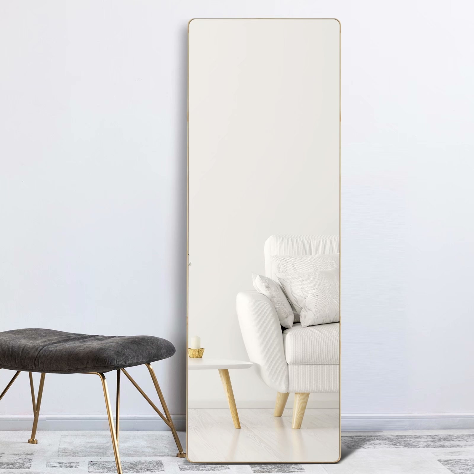 Solid Wood Round Corner Full Length Floor Mirror With Standing 64x21 Overstock 32159436