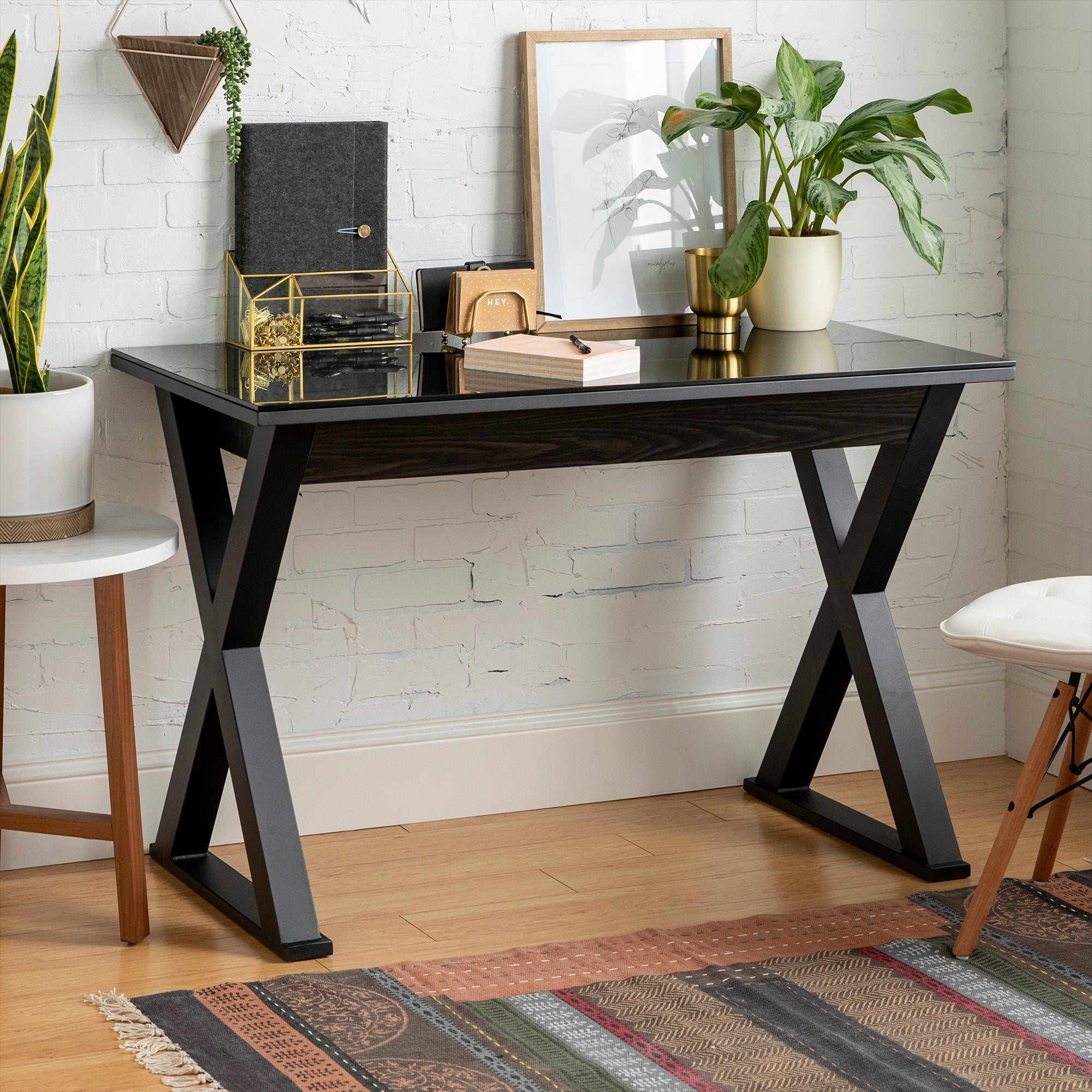 48 Inch Black X Frame Computer Desk With Glass Top Overstock 8408338