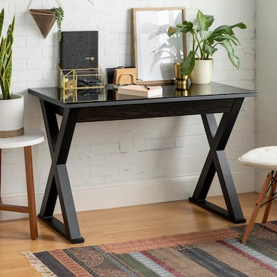 48-inch Black X-Frame Computer Desk with Glass Top