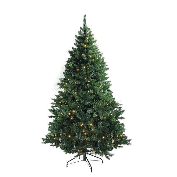 "12' x 80"" Pre-Lit Buffalo Fir Full Artificial Christmas Tree - Warm White LED Lights - green"