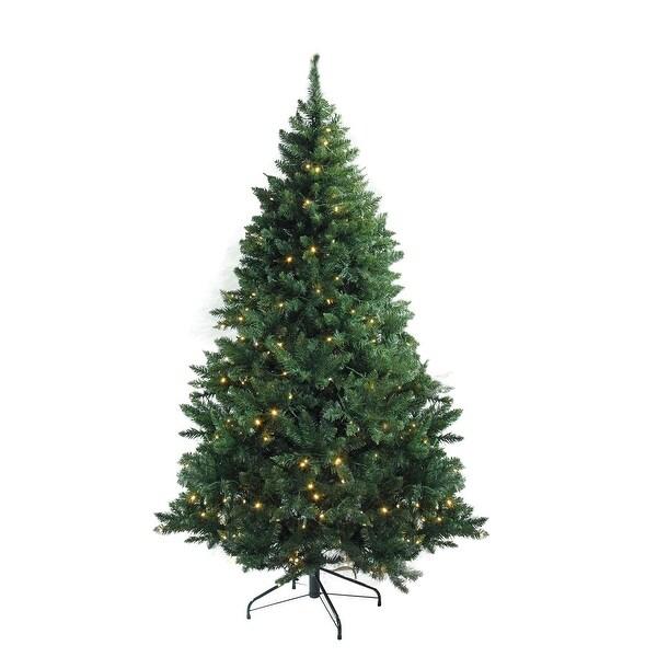 "7.5' x 55"" Pre-Lit Buffalo Fir Medium Artificial Christmas Tree - Warm White LED Lights - green"