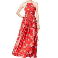 Fame And Partners Womens Floral Halter Maxi Dress