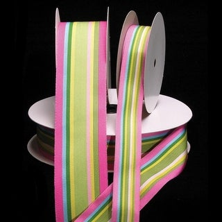 "Pink, Green, and Blue Striped Grosgrain Woven Craft Ribbon 1.5"" x 55 Yards"