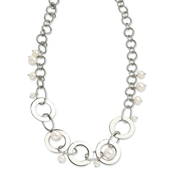 Chisel Stainless Steel Circles and Fresh Water Pearls 20 Inch Necklace (23 mm) - 20 in