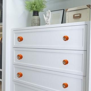 Ceramic Knobs Vintage Round Drawer Pull Handle Cupboard Cabinet Knob 4pcs Orange
