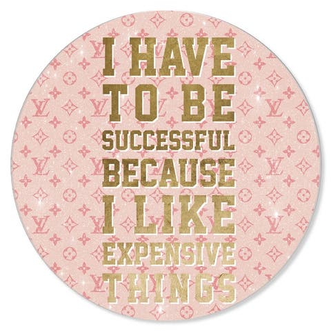 Oliver Gal 'Expensive Things Round' Glam Pink Acrylic Wall Art