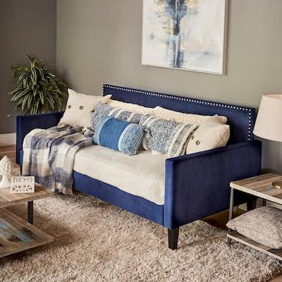 Handy Living Navy Blue Velvet Upholstered Twin Daybed