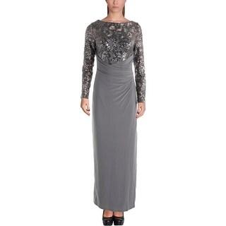 Lauren Ralph Lauren Womens Petites Zachareena Evening Dress Lace Sequined