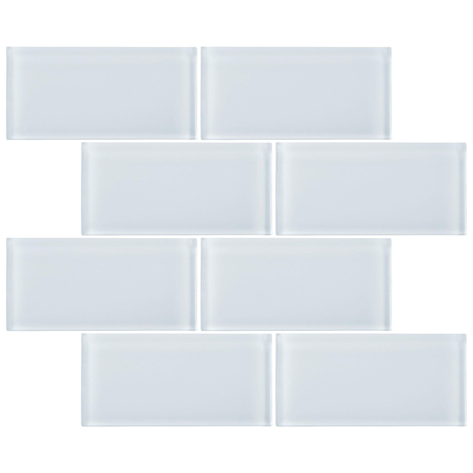 Tilegen 3 X 6 Glass Subway Tile In White Wall Tile 80 Tiles 10sqft Overstock 27973566