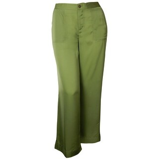 Lauren Ralph Lauren Women's Satin Pocket Wide Leg Pant - Fern