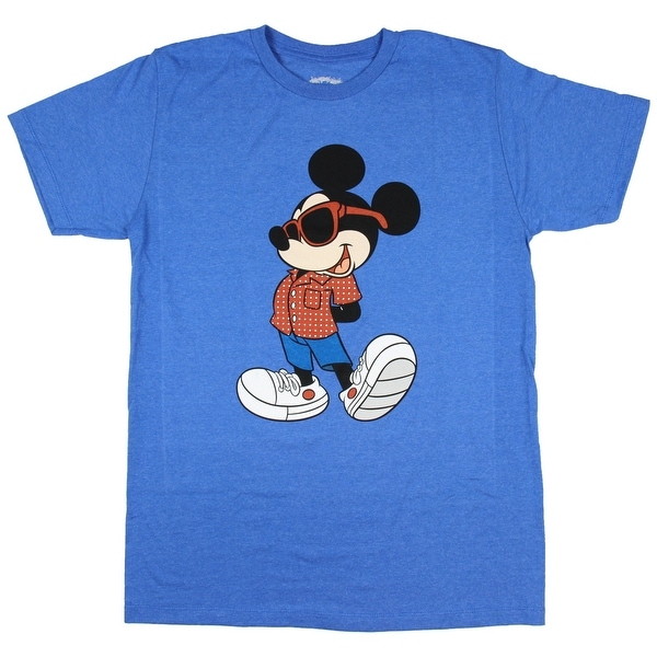 Disney Mickey Mouse Hip Dude Mens Sea Blue Heather T-Shirt