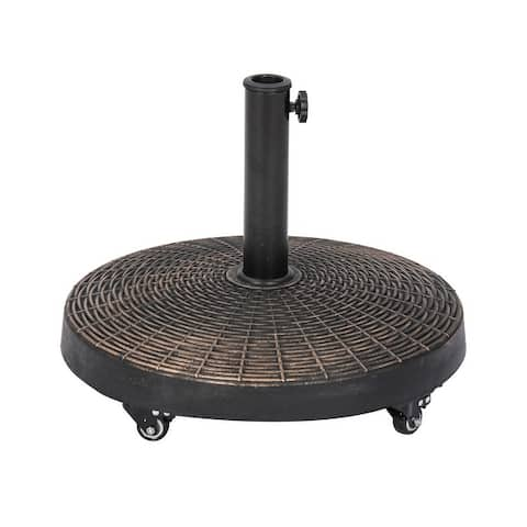 50-lb All-Weather Outdoor Round Resin Umbrella Base with Wheels