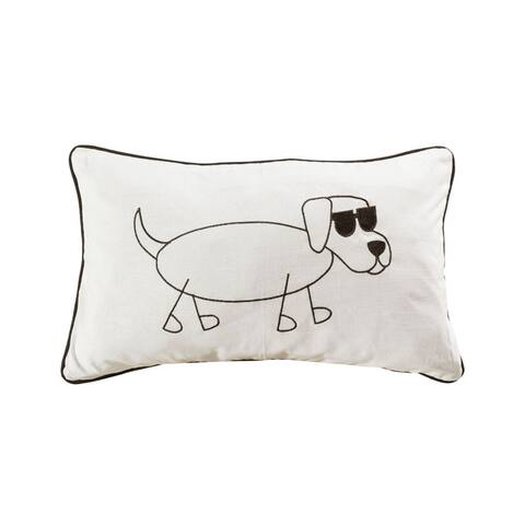 Dog with Sunglasses Lumbar 20x12-inch Pillow Cover Only Black/White Colors Black/White Finish