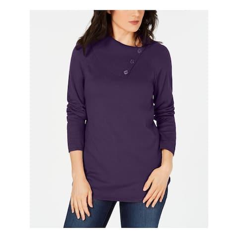 KAREN SCOTT Womens Navy Long Sleeve Cowl Neck Sweater Size M