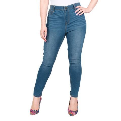 Isaac Mizrahi Designer Women High Rise Solid Skinny Jegging Blue-L