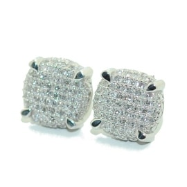 0.35ct Diamond Round 3D Earrings 9mm Wide 10k White Gold Screw On Back