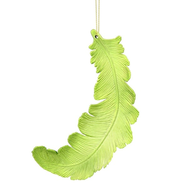 6ct Matte Green Kiwi Feather Shatterproof Christmas Ornaments 6""