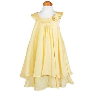 Kids Dream Little Girls Yellow Chiffon A Line Flower Girl Dress 2-14