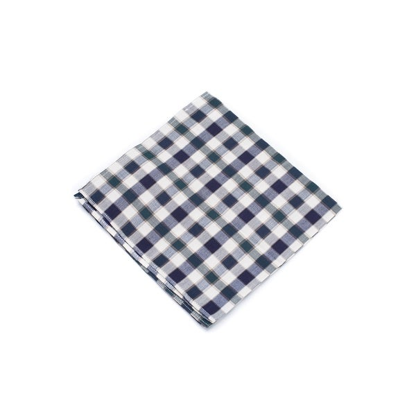 Brunello Cucinelli Pure Cotton Green Plaid Pocket Square
