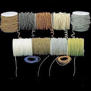 "Tahitian Grey Faux Pearls Wired Craft Ribbon Garland .25"" x 54 Yards"