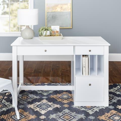 48-inch White Computer Storage Desk with Keyboard Drawer